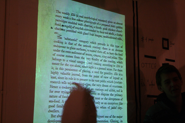 Projecting the pages of the books